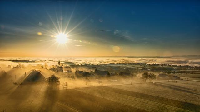mlha, slunce